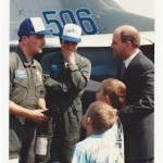 Chuck Newcomb greets Russian pilots to Cleveland during historic Russian MiG Friendship Tour of North America in 1991
