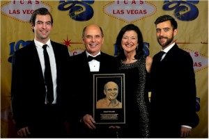 Chuck Newcomb with his wife Jenny and sons; Brian and Kevin at the 2014 ICAS Foundation Hall of Fame Induction